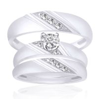10K White Gold His And Hers Mens Womens Diamond Engagement ...