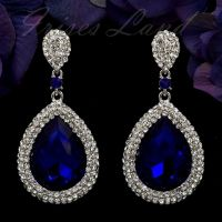 Rhodium Plated Sapphire Blue Crystal Rhinestone Drop