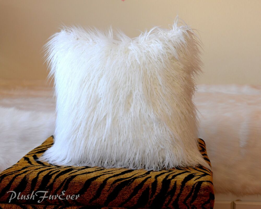 Grey Sofa Bed Couch White Mongolian Faux Fur Pillow 18x18 Throw Cushion