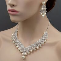 Silver Plated Pearl Crystal Necklace Earrings Bridal ...