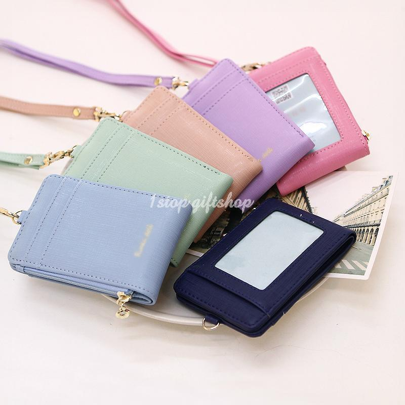Lanyard Id Holder Wallet Badge Neck Strap Leather Pass