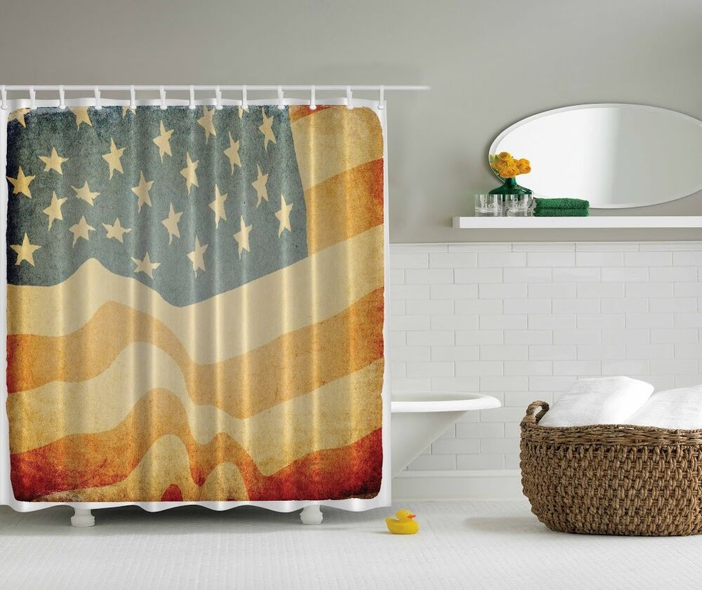 Usa Shower Curtain Americana Patriotic Usa Rustic Flag Shower Curtain 4th July Stars Stripes Decor Ebay