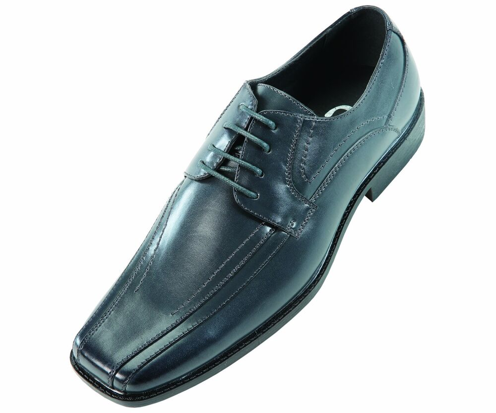Sio Mens Classic Grey Smooth Wide Width Oxford Dress Shoe