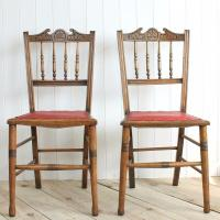 Vintage Antique Chairs Pair Wood Dining Bedroom Side