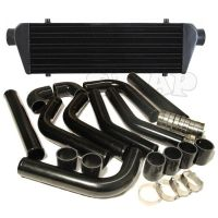 "JDM 28"" TURBO INTERCOOLER BLK+2.5"" ALUMINUM BLACK PIPING ..."