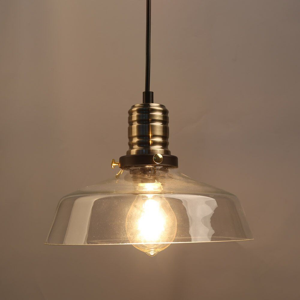 Retro Industrial Style Glass Pendant Lamp Ceiling Light