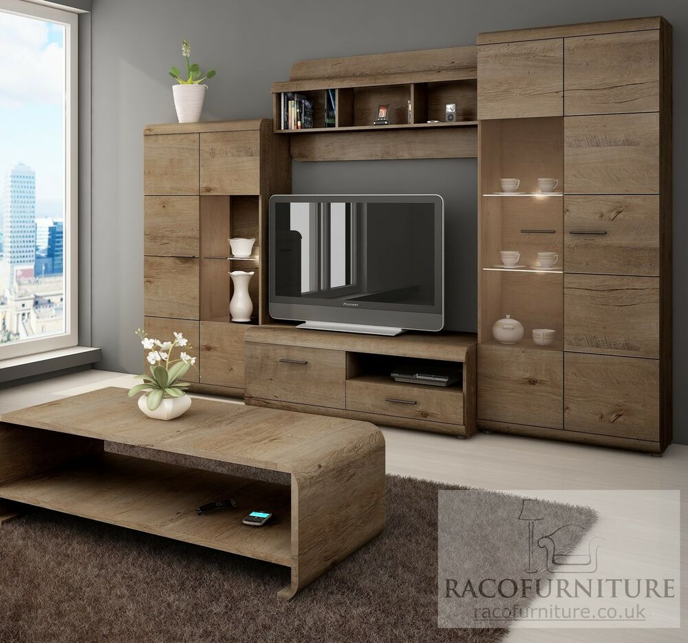 "Tv Wall Unit Tv Wall Unit ""lena"" Set Of Living Room Furniture /4 Piece"