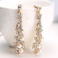 Long Crystal Drop Earrings Diamante Bridal Pearl
