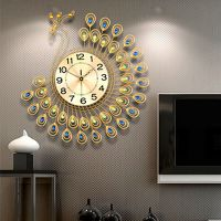 US Creative Gold Peacock Large Wall Clock Metal Living ...