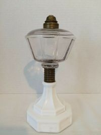 Antique Kerosene Oil Lamp Base White Milk Glass Octagonal ...