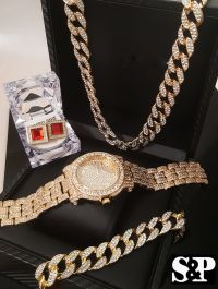 MEN ICED OUT HIP HOP COLLECTION WATCH & NECKLACE & EARRING ...
