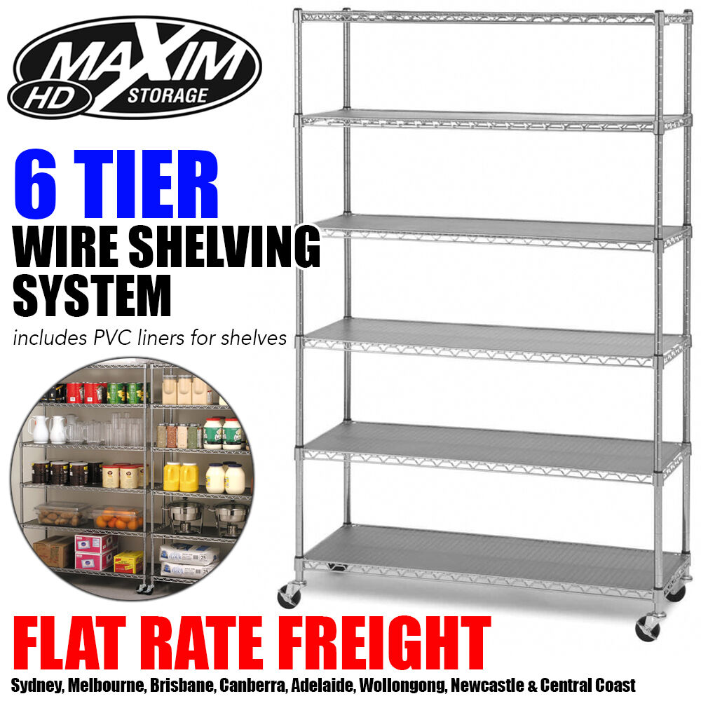 Shelving Adelaide Maxim 6 Tier Wire Rack Shelving Chrome Garage Kitchen Storage Metal Shelves Ebay