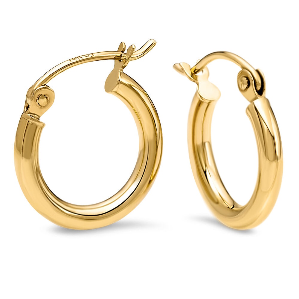 Leslies 14k Solid Yellow Gold Polished Small Hoop Earrings