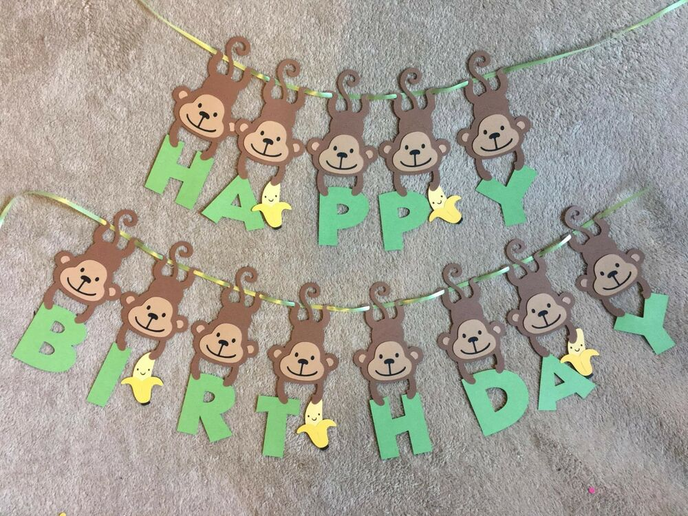 Monkey and Banana Happy Birthday Banner Can be personalized with