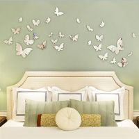 Silver Mirror Wall Art Wall Stickers Decal Butterflies ...