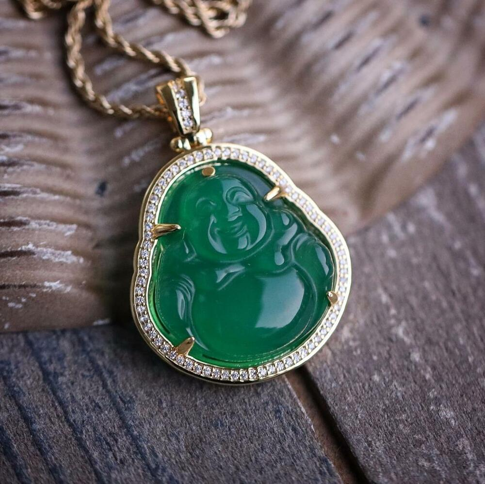 Hip Hop Green Jade Buddha Pendant Necklace Iced With Lab