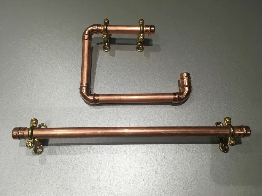 Copper Pipe Toilet Roll Holder Towel Rail Handmade To