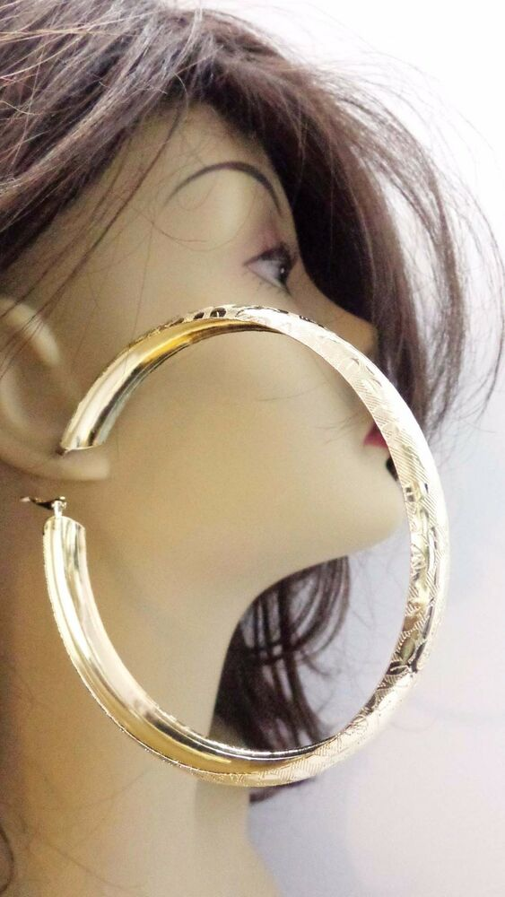 LARGE TEXTURED HOOP EARRINGS 4 INCH GOLD OR SILVER TONE