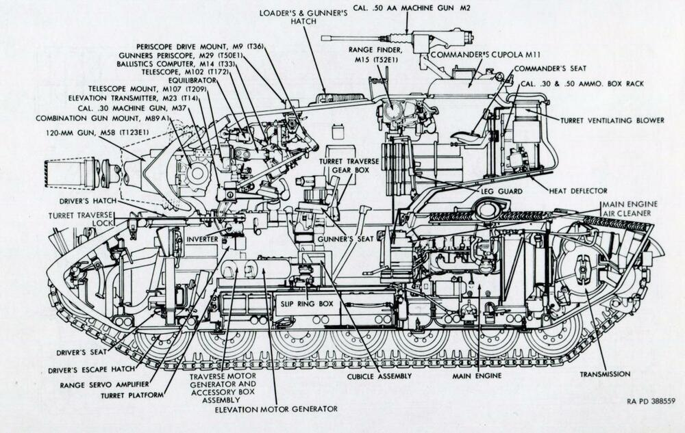 M4 SHERMAN BATTLE TANK DIAGRAM SCHEMATIC GLOSSY POSTER PICTURE PHOTO