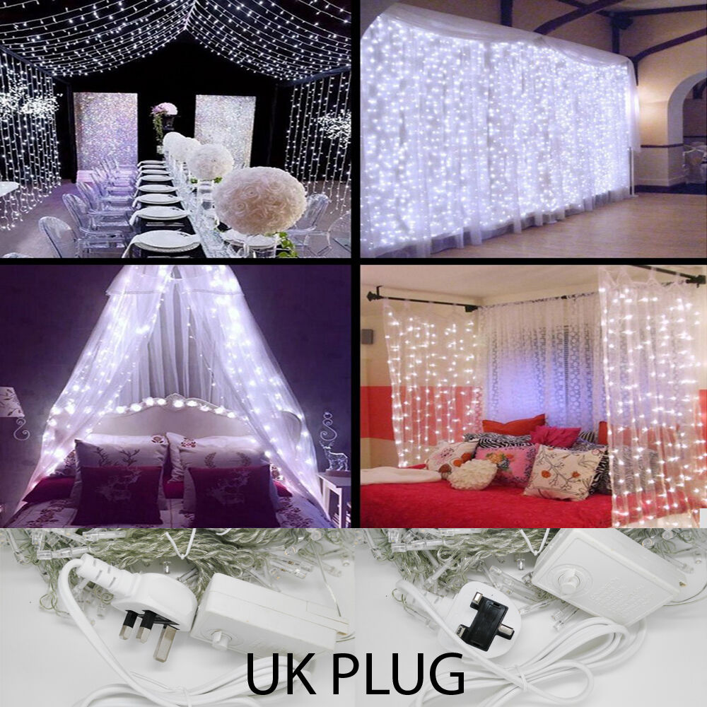 Store Exterieur 6m X 3m 3m 6m Led Indoor Outdoor Curtain Wedding String Fairy Light Xmas Party Uk Plug Ebay