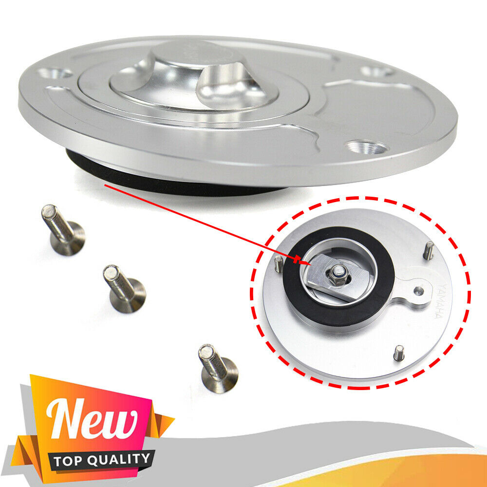 Silver Keyless Billet Gas Fuel Filter Cap Tank Cover For Yamaha YZF