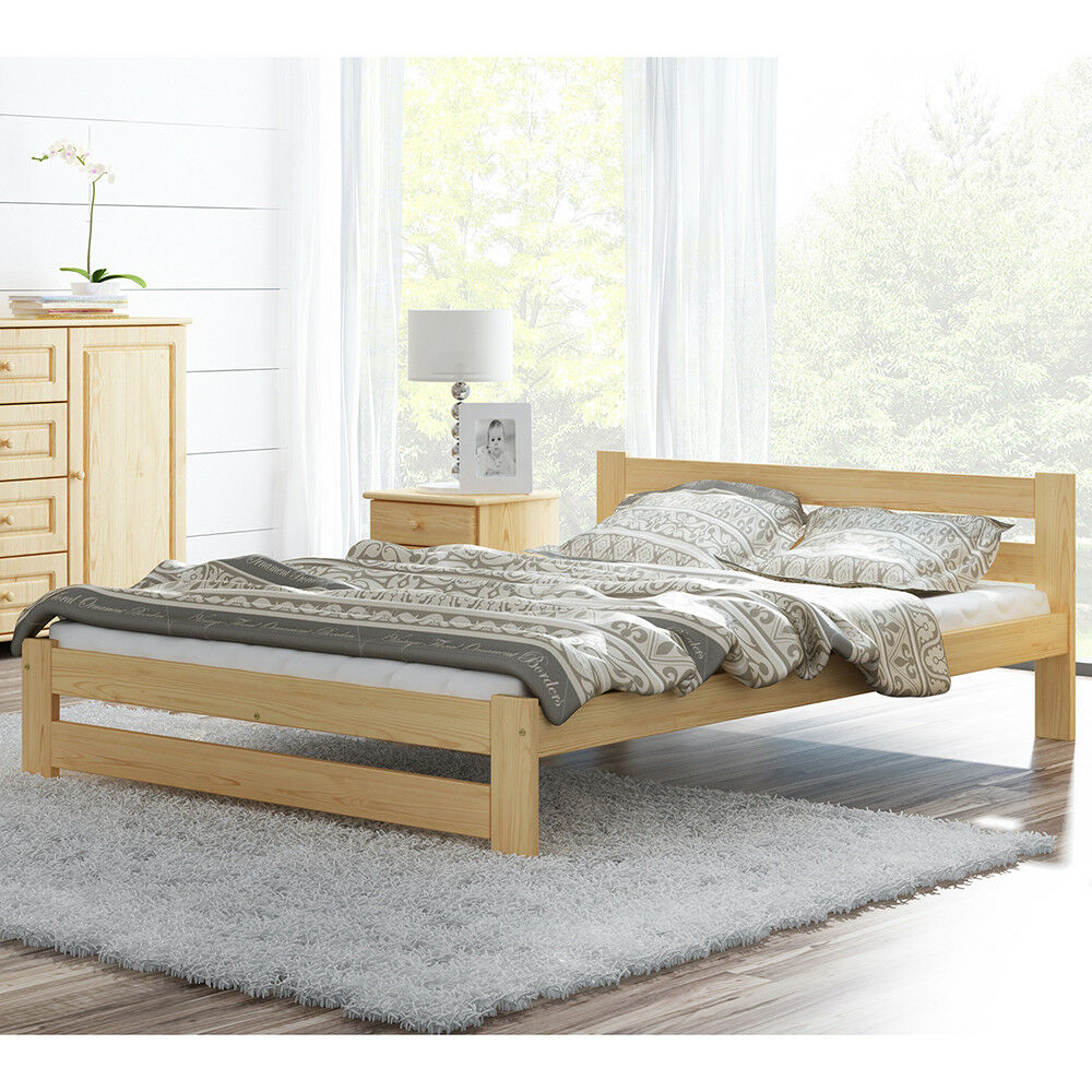Bed 120 X 190 Wooden Pinewood Bed Frame 4ft Small Double 120x190 Size Slats Varnished Wood 5903031450460 Ebay