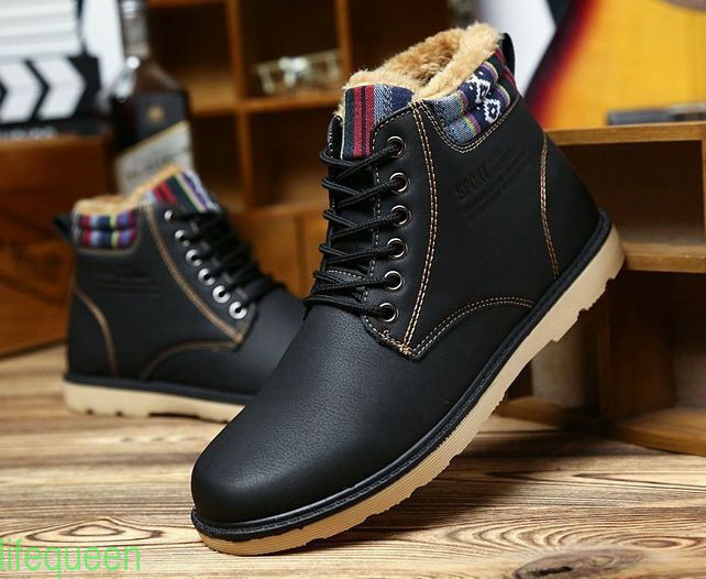 Men Winter Leather Fur Snow Boots Ankle Casual Warm