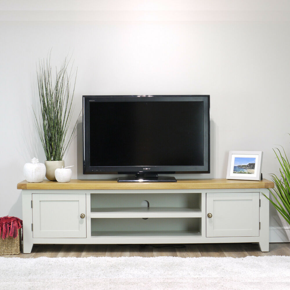 Sideboard Sonoma Arklow Painted Oak Extra Large Tv Stand / 180cm Grey Solid
