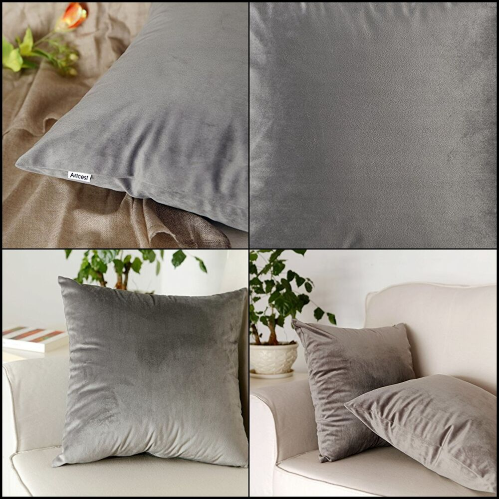 High Quality Sofa Pillows Sofa Pillow Case Decorative Velvet Covers With Zipper 18x18 Set Of 2 Soft Grey 610602629044 Ebay
