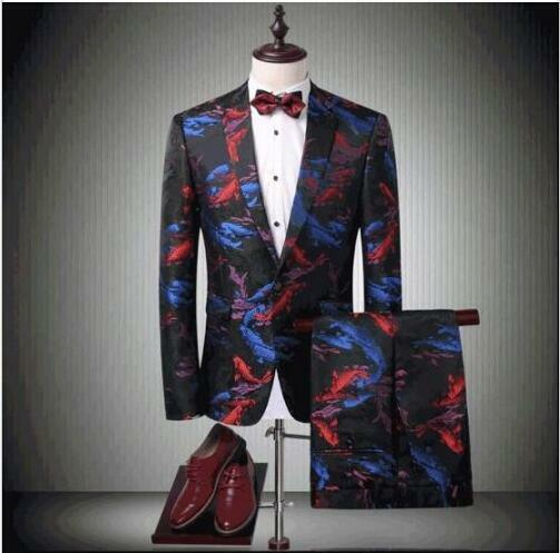 Mens Suit Blazer Floral Print Coats Carp Fish Dress Formal Luxury