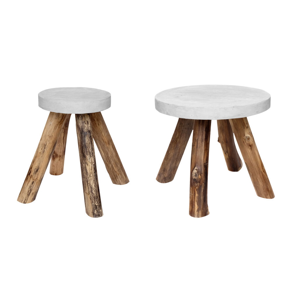 Couchtisch Beton Rund Side Table Teakwood Beton Round Gemstone Wood Coffee White