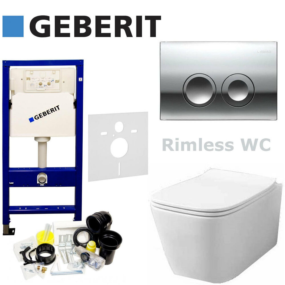 Geberit Wc Geberit Duofix Up100 Flush Plate Wall Hung Rimless Wc Quality Soft Clos Seat Ebay