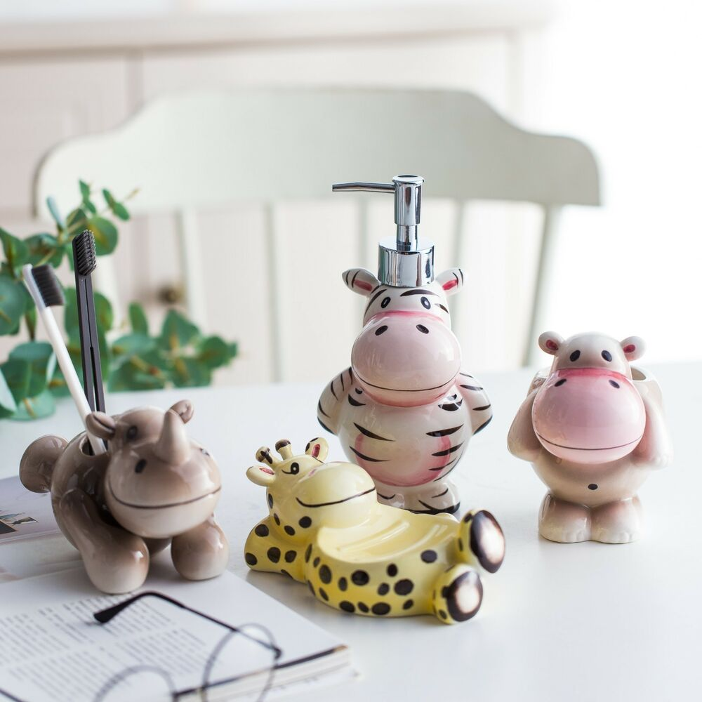 Bathroom Dispenser Set 3d Ceramic Cute Bathroom Set Cartoon Soap Dispenser Toothbrush Holder Soap Dish Ebay
