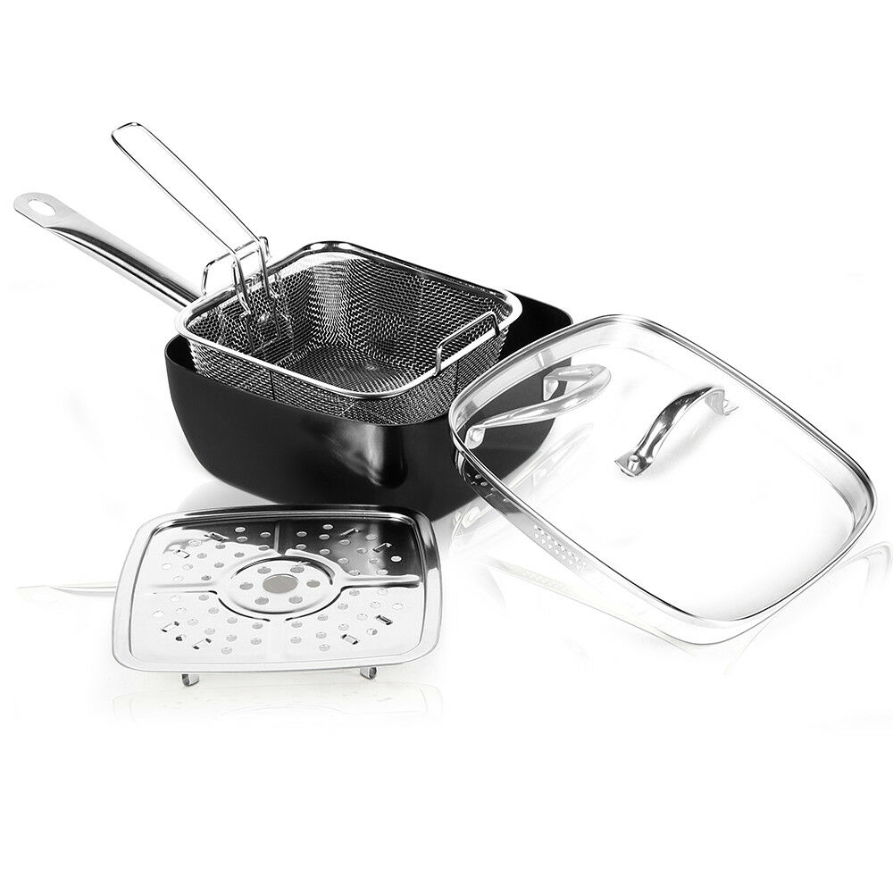Steamer Saucepan 6 In 1 Nonstick Black Cookware Set Square Saucepan With Lid Steamer And Basket Ebay