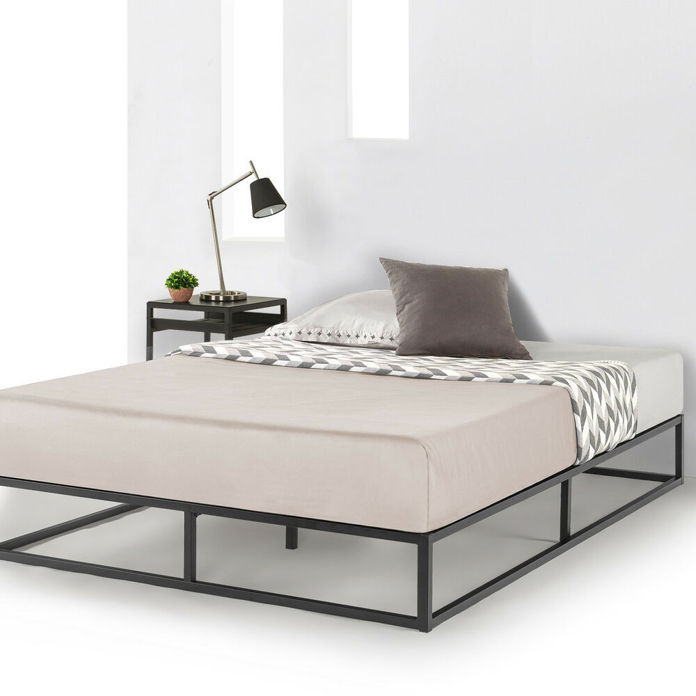 Mattress Platform Metal Platform Bed Frame Wooden Slat Support Mattress Foundation Queen Dorm Twin Ebay