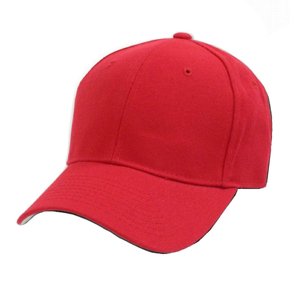 RED FITTED BASEBALL CAP CAPS HAT HATS - 8 SIZE CHOICES eBay