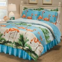 8PC Tropical Pink Flamingo Palm Tree Beach Queen Comforter ...