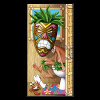 Funny Luau TIKI HEAD MASK on POTTY Bathroom Door Cover