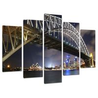 Five Picture Blue Canvas Art Wall Art Sydney Harbour ...