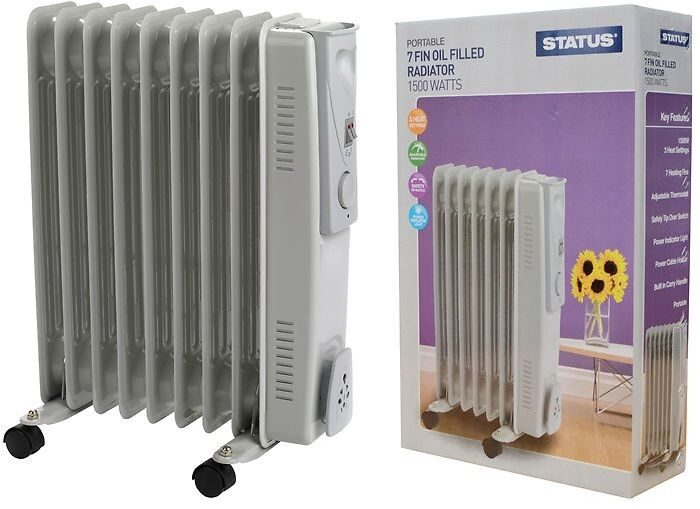 7 Fin 1500w Electric Portable Oil Filled Radiator Heater