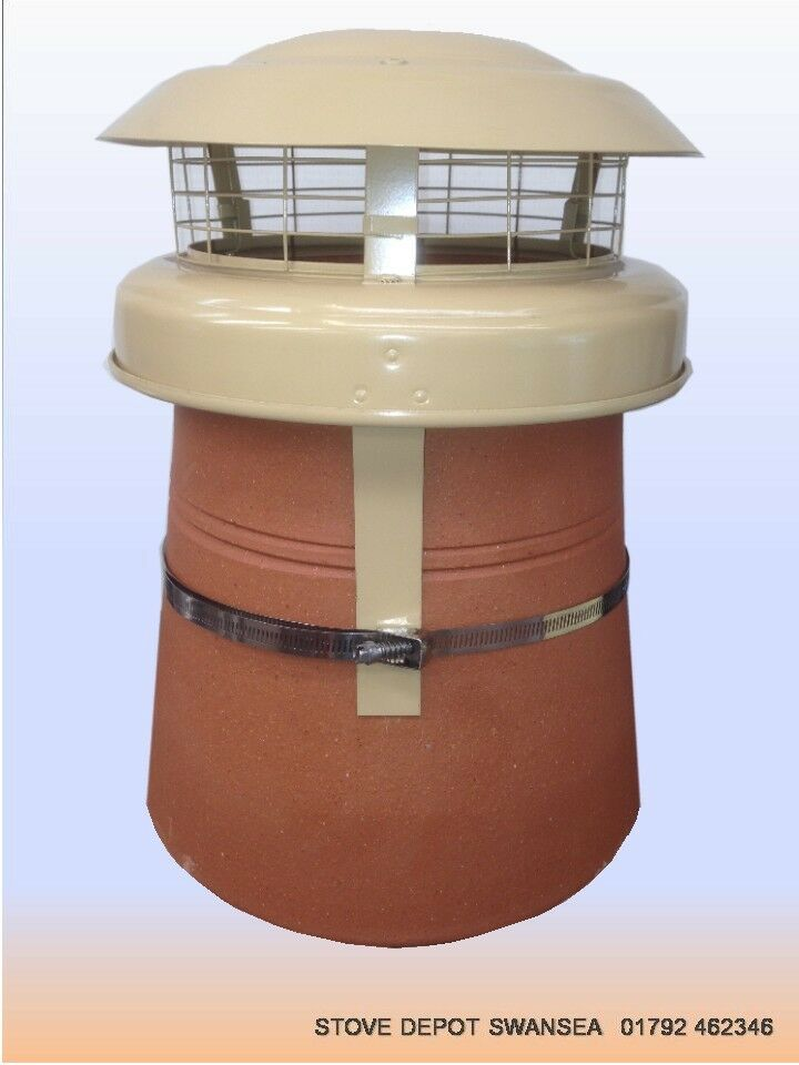 Anti Down Draught Buff Cowl For Round Chimney Pot