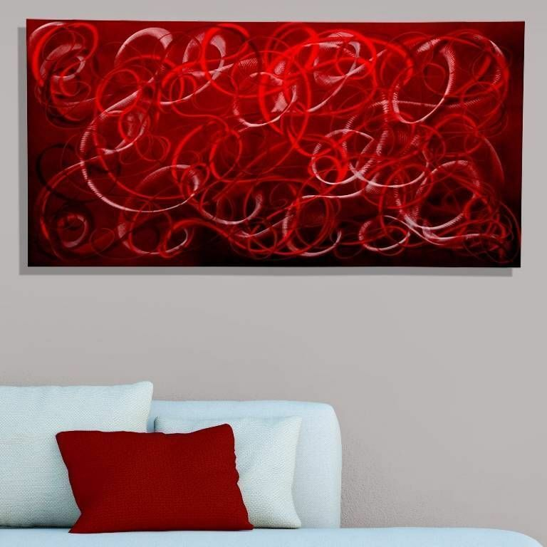Modern Metal Wall Art Red Contemporary Home Decor
