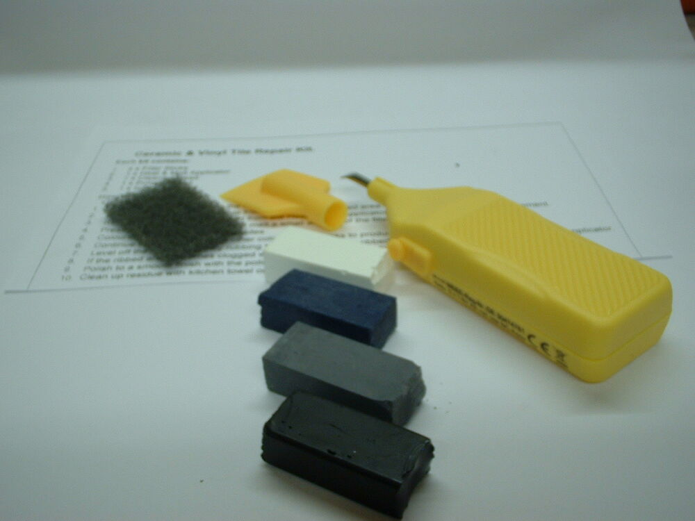 1 X Ceramic Vinyl Tile Repair Kit Black White Blue