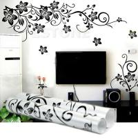 Black Flowers Removable Wall Stickers Wall Decals Mural ...