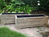 2 METRE LARGE WOODEN GARDEN TROUGH PLANTERS MADE IN ...