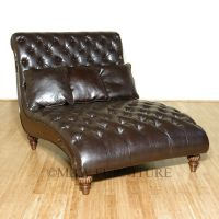Latte Tufted Bycast Leather Double Chaise Lounge | eBay