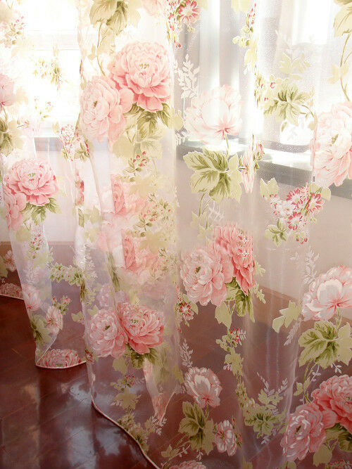 Vorhang Blumen 2 Pcs Charming Country Style Pink Flower Sheer Voile