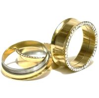 Pair of Screw Fit CZ Gold Plated Flesh Ear Tunnels Plugs ...