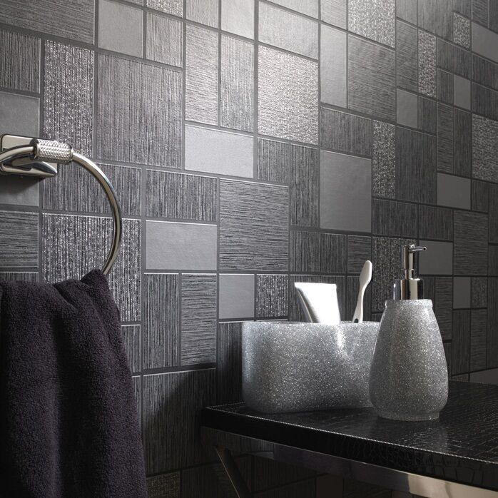 Pe Foam 3d Wallpaper Black Glitter Tile Wallpaper Kitchen And Bathroom Tiling