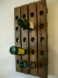 Wall Wine Rack Wood Handmade Rustic French Country